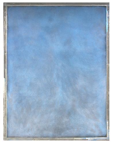 Ryan Wallace, Tablet (Blue)  (2012) Oil, enamel, acrylic, crystalina, Mylar on canvas 96h x 72w in (243.84h x 182.88w cm)