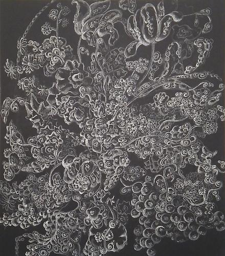 "Kysa Johnson, Blow Up 125 – The Tree of Life and Death – Pneumonia, Plague, Whooping Cough, Tuberculosis, Penicillin, Streptomyces, and Micromonospora after Margareta Haverman (2009) Chalk and Chinese White on Chalkboard 20"" x 17"""