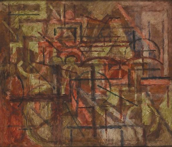 Maurice Golubov Grand Central, ca. 1935  Oil on board 24 x 38 inches ,GOLU_M_001
