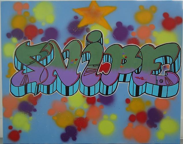 SNYPER, Snipe, 2010. Spray paint and acrylic on canvas, 24 x 30 inches.