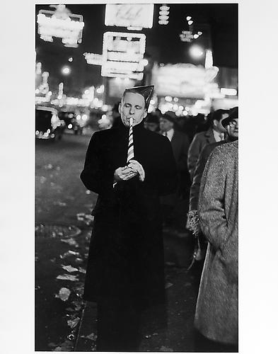 Man with hat and horn, New Year's Eve, Times Square mid 1950s Gelatin Silver Print