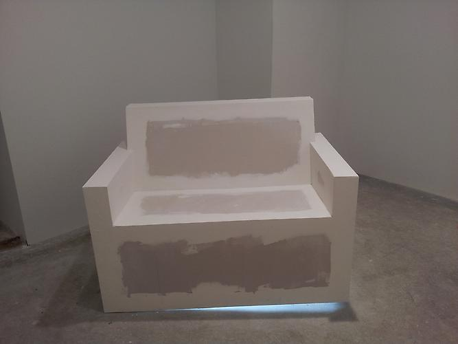 Don Edler  It's a Trap!  2012 Drywall, drywall plaster, plywood, fluorescent light and scale 48 x 32 x 38 inches