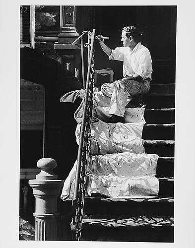 Man painting on steps  mid 1950s Gelatin Silver Print