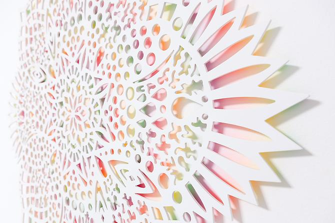 Prismatic Radiation (detail), 2012 Wood, acrylic paint 47 x 47 x 1 in