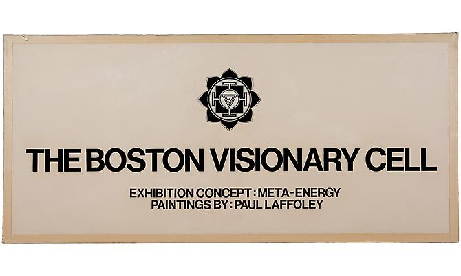 BOSTON VISIONARY CELL, 1975 Original signage, 18 ½ x 40 in.
