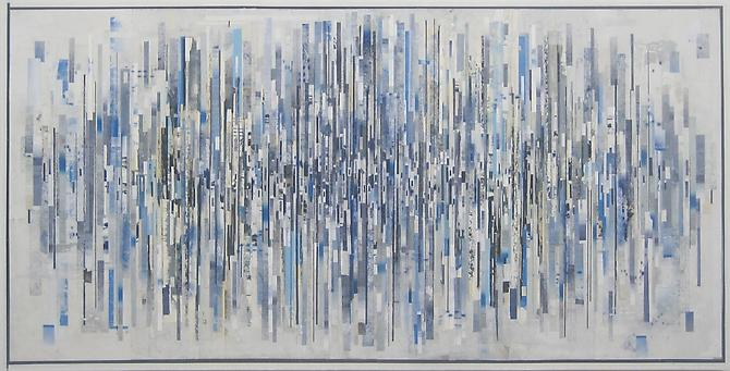 Ryan Wallace, Untitled Timeline (2012) Oil, enamel, acrylic, ink, lithorgraph, inkjet, vinyl, tape, paper, PVA, Mylar on panel 36h x 72w in (91.44h x 182.88w cm)