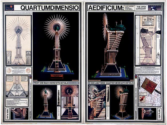 Quartumdimensio Aedficium, 1975 Architectural presentation for the Boston Redevelopment Authority Mixed media, 36 x 48 in.