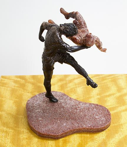 Movingue Pedestal with Football Players (Detail), 2013 Pedestal: Movingue Veneer, Players: African Blackwood and Mix 11 ½ x 11 ½ x 42 in