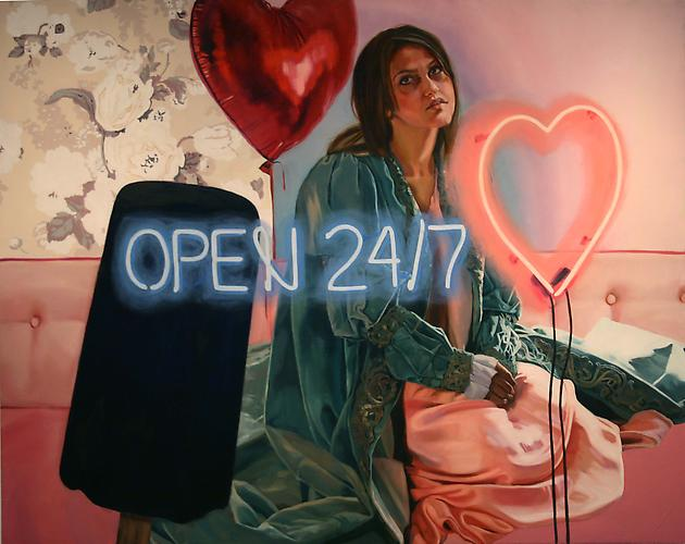 She is Open 24 Hours a Day, Seven Days a Week , 2012 Oil on linen 56 x 66 inches