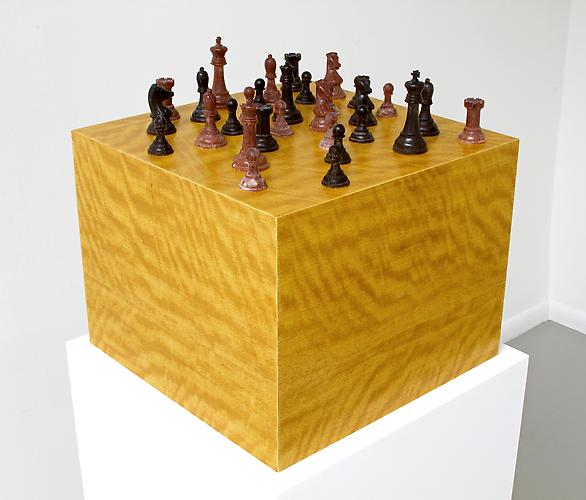 Movingue Pedestal with Chess Set, 2013 Pedestal: Movingue Veneer, Chess pieces: African Blackwood, Mixed 15 x 15 x 11 ½ in