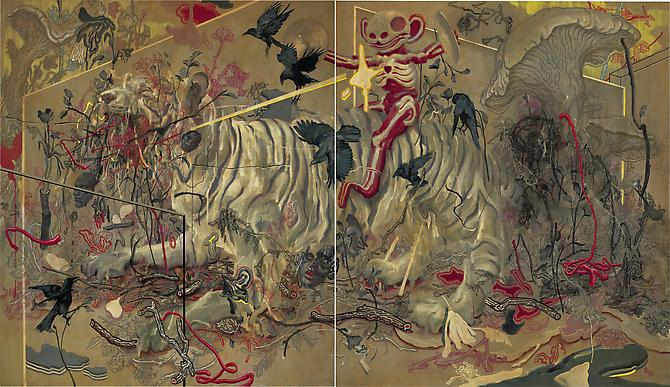 JAMES JEAN Tiger, 2010 Acrylic, oil and pastel on canvas 60 x 104 inches