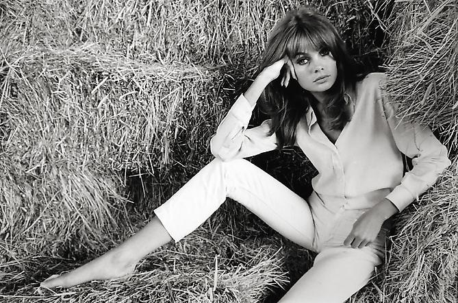 Jean Shrimpton Laying in Hay