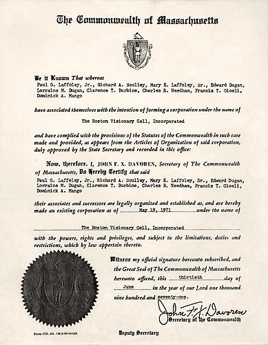 The Commonwealth of Massachusetts Certificate of Incorporation June 13, 1971 Offset print