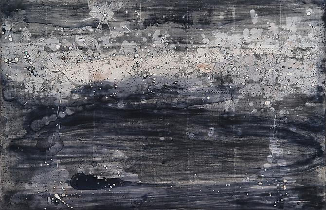 Nancy Lorenz, Night Sky II (2012) Burnished Silver Leaf, Mother Of Pearl Inlay, Pigment On Panel 22h x 34w in (55.88h x 86.36w cm)