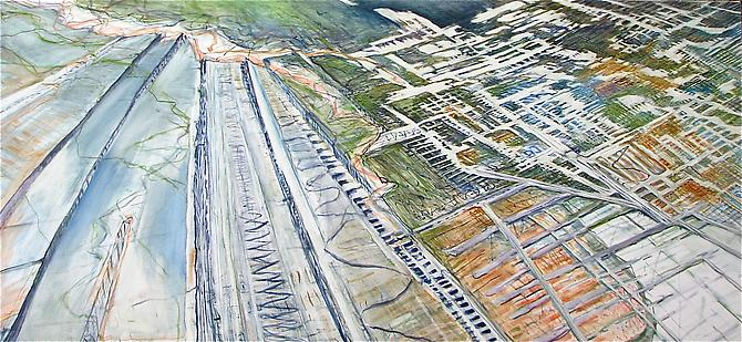 Judith Belzer, Through Lines #20 (2011) Oil On Canvas 34h x 74w in (86.36h x 187.96w cm)