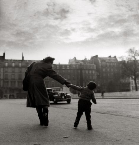 Mother Pulling Child by the Louvre 1951 gelatin silver print