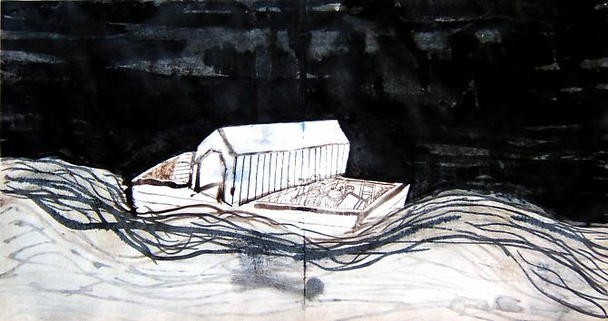 "Paul Bowen, 2008  Bridge Skow , ink on paper 10"" x 19"""