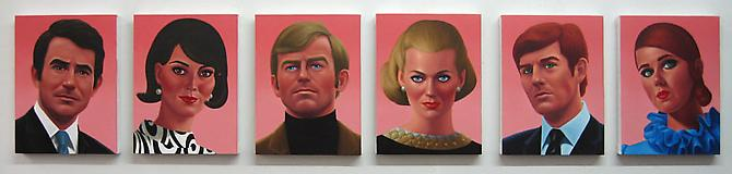 The Pinko Six, 2009 Oil on canvas 6 canvases, 20 x 16 inches each
