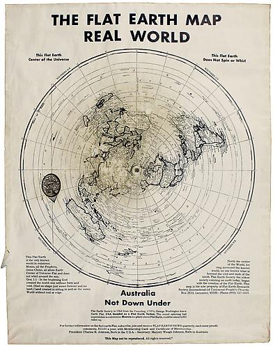 The Flat Earth Map, Real World Offset print, 22 ½ x 17 in.