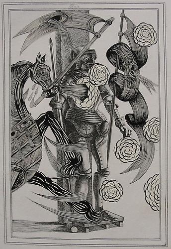 Andrew Schoultz, War Armor (2) (1801-2011) Acrylic On Antique Copper Plate Etching 16h x 12w in (40.64h x 30.48w cm)