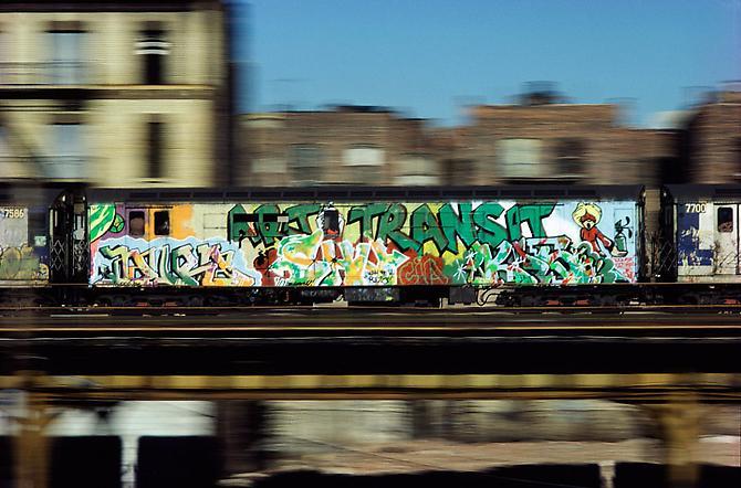Martha Cooper, Art vs. Transit, South Bronx, 1982. Digital C Print, 21 5/8 x 33 1/8 inches.