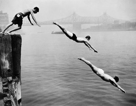 Divers, East River, New York 1950 gelatin silver print