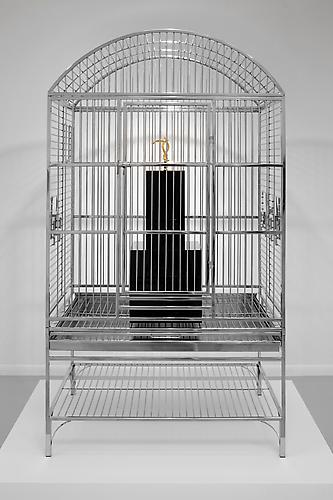 James Lee Byars' Hook, 2010 Stainless steel birdcage, gold-plated stainless steel arm hook, black acrylic 61 x 34 x 24 inches