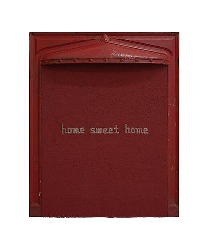 John Salvest, Home Sweet Home (2009) Cast Iron, Wood, Red And White Tipped Matches 30h x 24w x 5d in (76.2h x 60.96w x 12.7d cm)