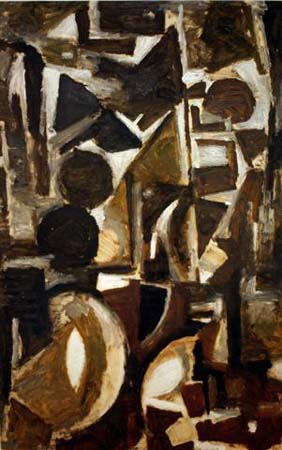 Untitled Abstract,1946	 Oil on paper	 39 1/2 x 25 inches (100.33 x 63.5 cm)			 GOLU_M_067