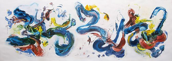 Nancy H. Taplin  Flurry , 2011 oil on rag paper, 52 x 144 inches Listing #4