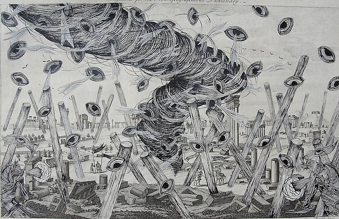Andrew Schoultz, Revisiting Ancient Ruins (1692-2011) Acrylic On Antique Copper Plate Etching 12h x 16w in (30.48h x 40.64w cm)