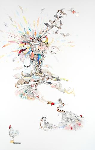 Laura Ball, Rise (2011) Watercolor And Graphite  On Paper 40h x 26w in (101.6h x 66.04w cm)