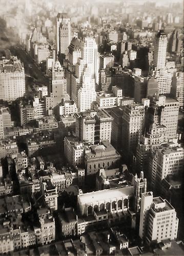 Untitled [aerial cityscape] not dated vintage gelatin silver print