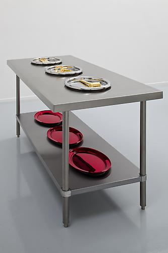 What is on the Dinner Menu Mr. James Lee Byars? 2010 Gold-plated stainless steel, bone saw, vaginal speculum, bone mallet, chrome-plated stainless steel, stainless steel table 38.5 x 30 x 72 inches