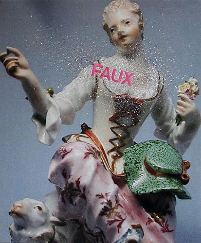 Faux, 2009 Pigment print on canvas, silk embroidery and glitter  36 x 29 inches