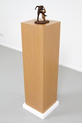 Vertical Grain Pedestal with Football Players, 2013 Pedestal: Vertical Grain Veneer, Players: Mixed and Canary 11 ½ x 11 ½ x 42 in