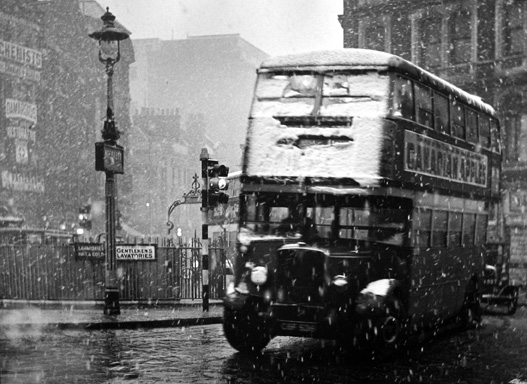 View from 84 Charing Cross Road towards Cambridge Circus [bus] 1936 gelatin silver print