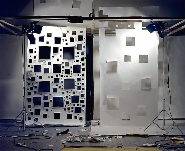 "No. 592, 2005 ""Holes in White to Black and Holes in White to White, Both Lit from Front"".  Edition of 3, 72 x 88 in. (182 x 223 cm.) 2 AP, 40 x 50 in. (101 x 127 cm.) Color Photograph"