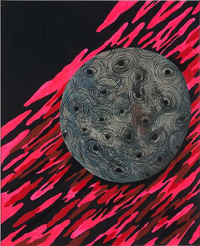 Andrew Schoultz, Rolling Earth (2011) Acrylic And Gouache On Antique Book Page From 1968 16h x 12w in (40.64h x 30.48w cm)