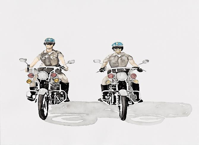 Kelly Inouye: On Patrol (2012) Watercolor On Paper 22h x 30w in (55.88h x 76.2w cm)