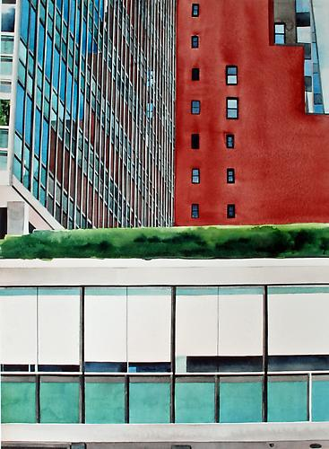Lever House, NYC (2013) Watercolor On Paper 30h x 22w in (76.2h x 55.88w cm)