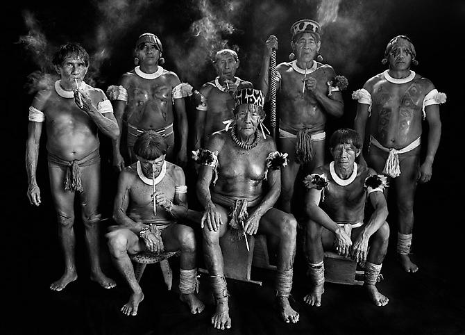 Group Portrait of all the Kamayura Shamans. High Xingu, Mato Grosso State, Brazil 2005 gelatin silver print