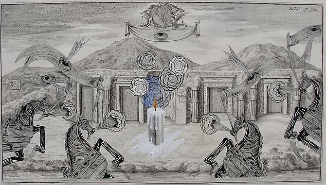 Andrew Schoultz, Tombs of the Unknown (1718-2011) Acrylic On Antique Copper Plate Etching 12h x 16w in (30.48w cm x 40.64h)