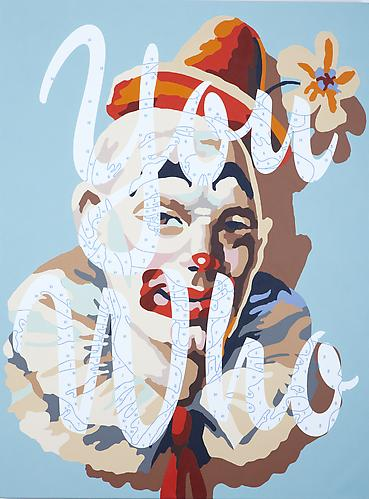 You Who (Self-portrait), 2010. Acrylic paint and archival pigment on canvas, 48 x 36 inches.