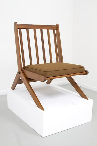 A. QJ Folding Chair, 2012 Teak with African Wood Accents 30 ½ x 22 ¼ x 30 ¾ in