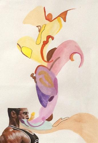 Orly Genger: Untitled (2012) Watercolor And Collage On Paper 12.5h x 8w in (31.75h x 20.32w cm)