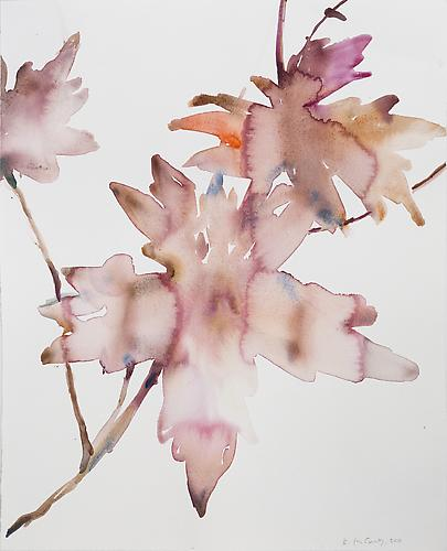 Kim McCarty: Untitled (Leaves) (2010) Watercolor On Paper 18.5h x 15w in (46.99h x 38.1w cm)