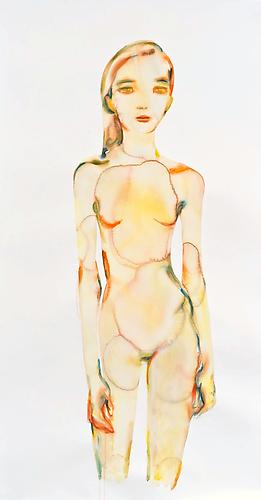 Kim McCarty, Orange Girl Looking Forward (2013) Watercolor On Paper 74h x 45w in (187.96h x 114.3w cm)