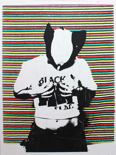 Wolverine Black Flag (Jen), 2011, Alcohol Based Marker, Elmer's Glue, Toner, And Paper On Wood 48.00 x 36.00 x 1.50""