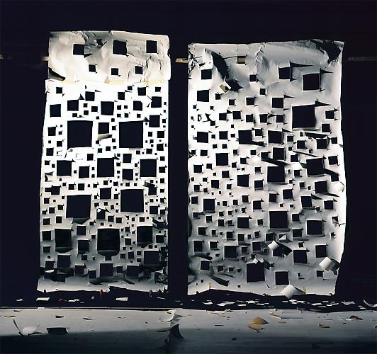 "No.698, 2008 ""Holes in White and Holes in White Lit from Front"" Edition of 3, 72 x 72 in. (182 x 182 cm.) 2 AP, 50 x 50 in. (127 x 127 cm.) Color Photograph"